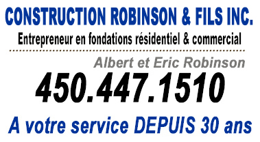 Service de coffrage montérégie fondation Rive-sud Construction Robinsons Coffrage Robinson